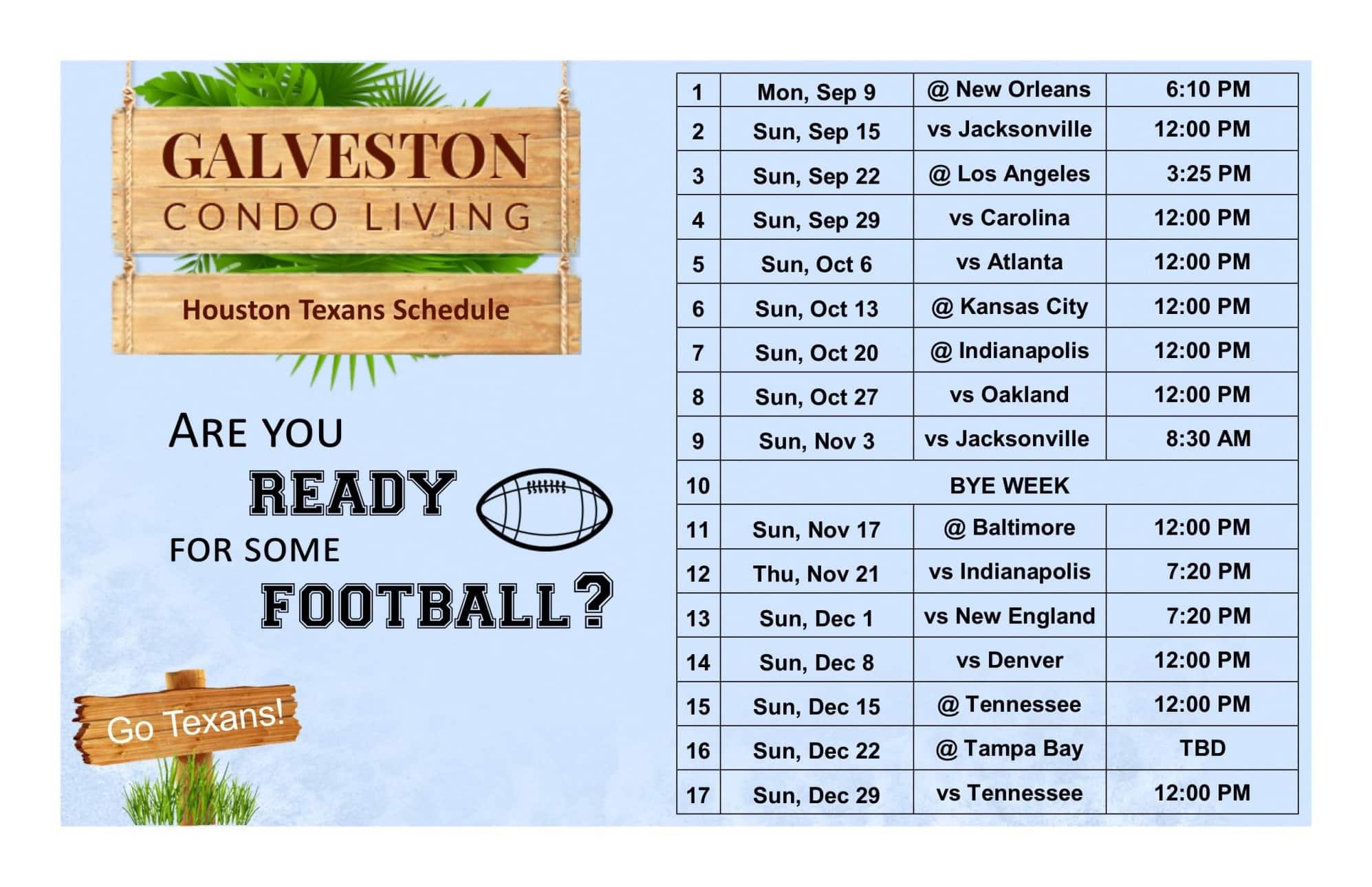 2019 Houston Texans football schedule