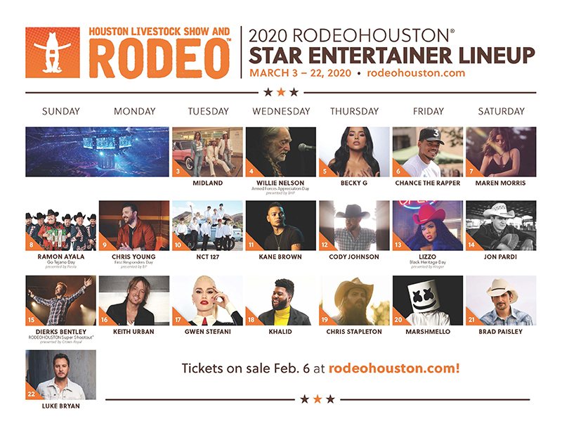 2020 Houston Livestock Show and Rodeo Final Lineup