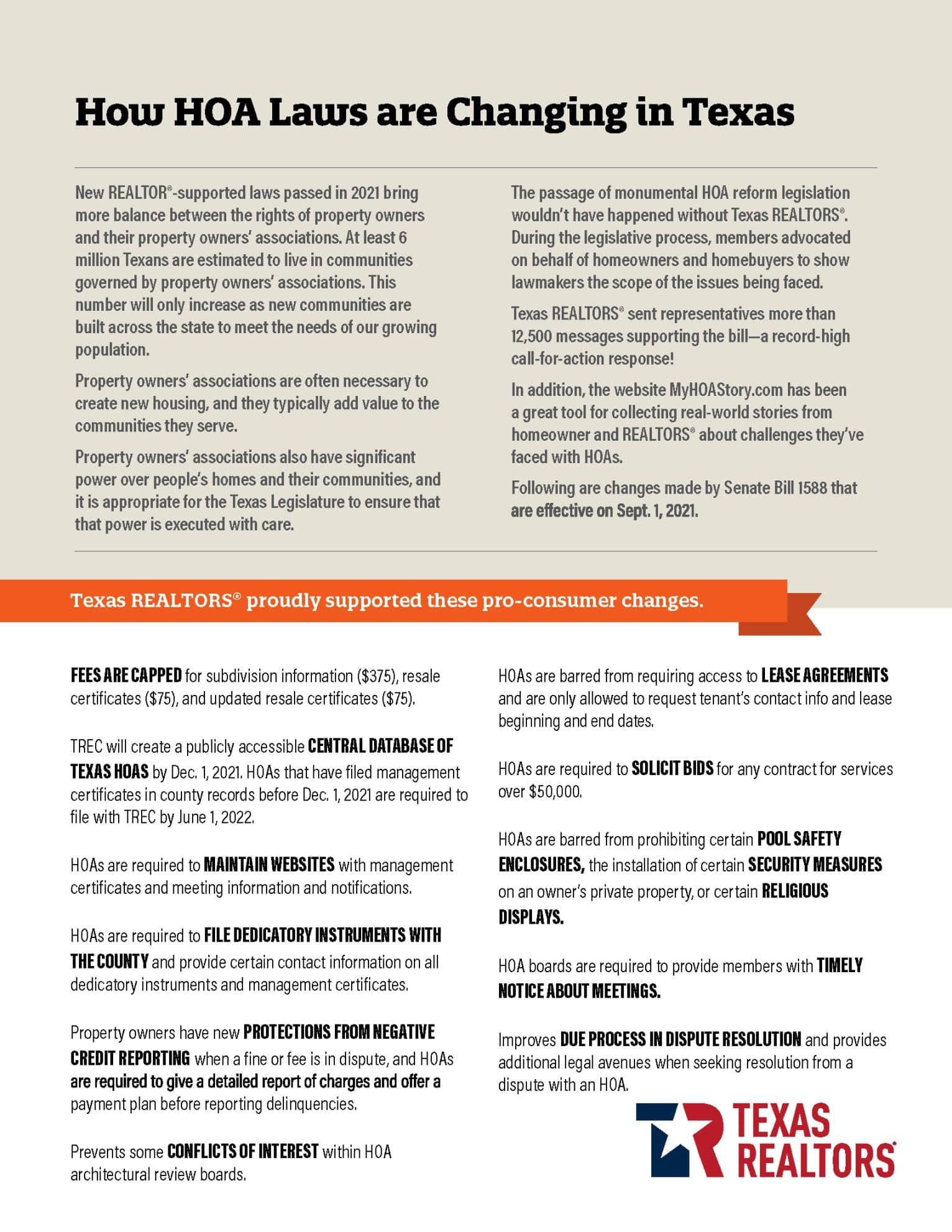 HOA Reforms list
